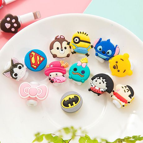 100pcs/lot Cartoon USB Cable Earphone Protector headphones line saver For Mobile phone charging line data cable protection
