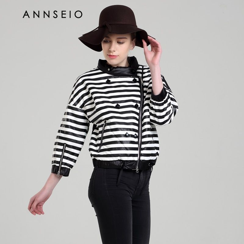 ANNSEIO 2016 new style women cotton dress fashion stripy short coats spring warming plus-size jacket 15B8739-1