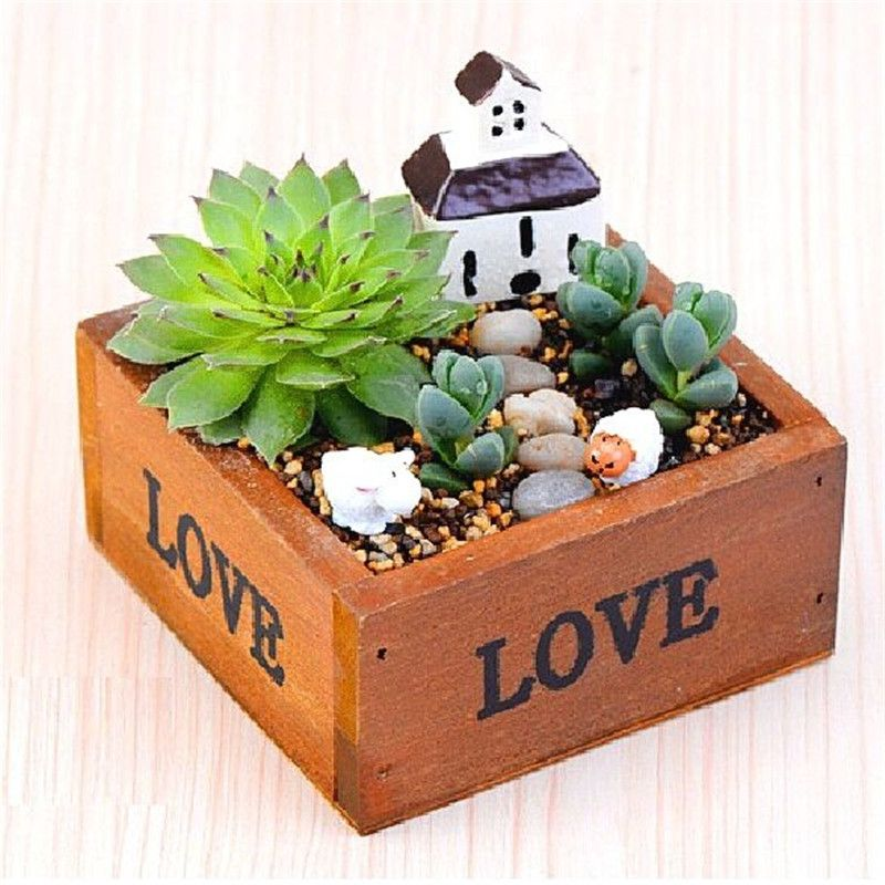FD4292 new  Square Wood Succulents Planter Flower Pot Box Flowerpot Holder Case