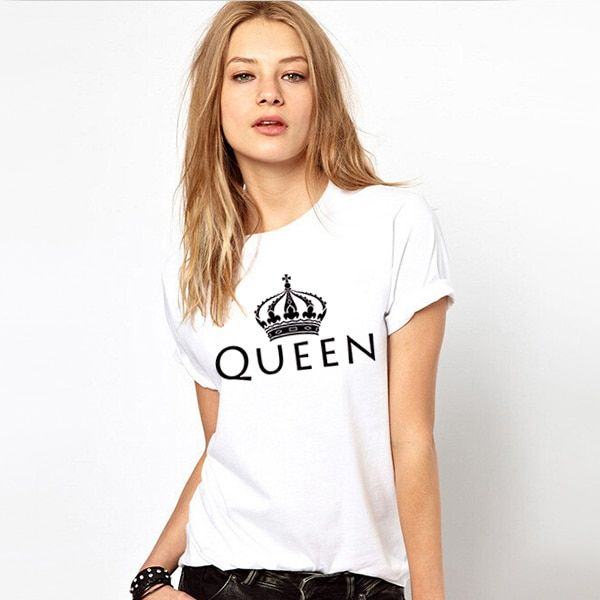 Unisex Loose Style Couple King Queen Shirt 2016 Summer Womens Sublimation Print T-shirt Harajuku Swag Vogue White Printed Tshirt