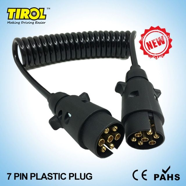 TIROL T23489a 7 Pin Plastic Plug Black Trailer Wiring Spring Cable Connector 12 N type X2 12N Plugs 150CM Free Shipping