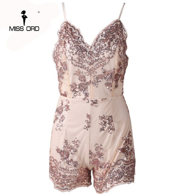 Free shipping Missord 2018  Sexy v-neck sleeveless straps sequins playsuit  FT3570