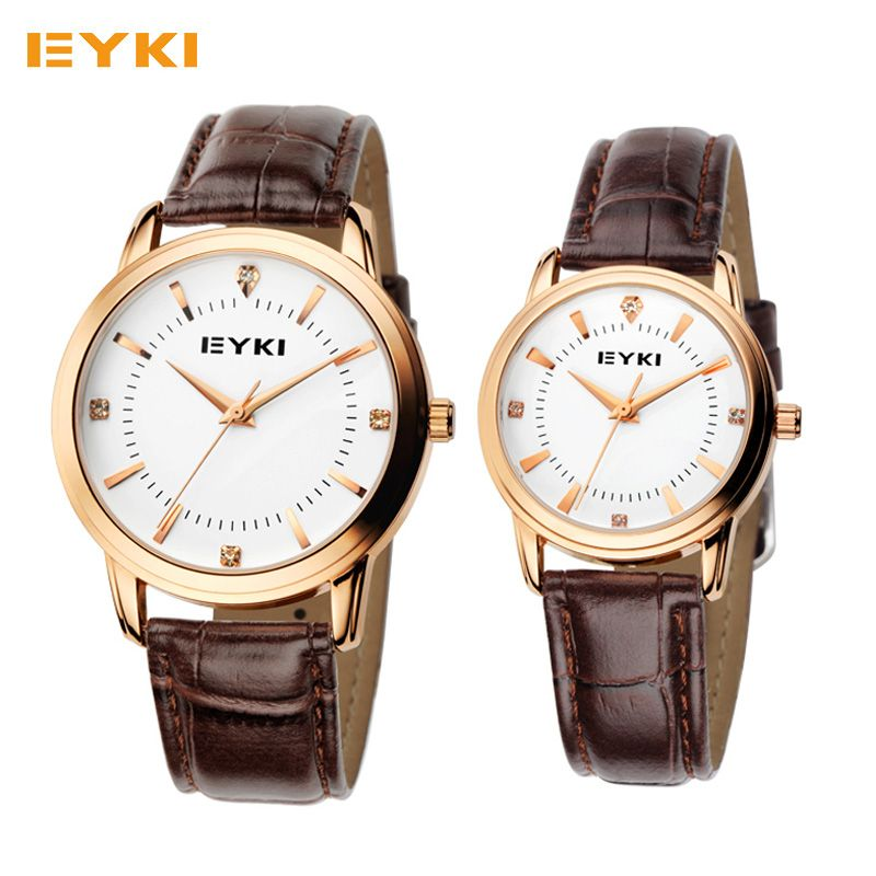 Brand EYKI Couple Warches Men Women Casual Business Watches Leather Strap Waterproof Quartz Watches For Lovers