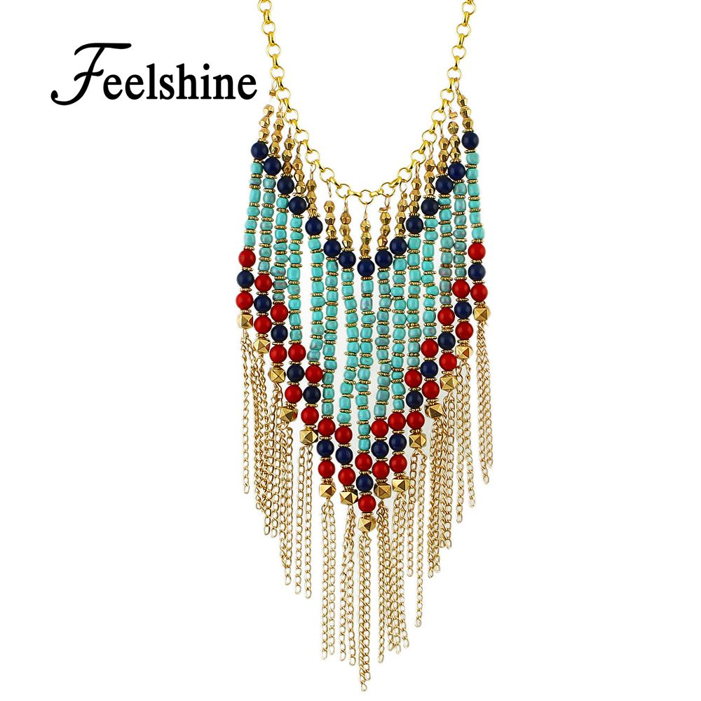 Perfeel Bohemian Style Long Gold-Color Chain with Colorful Beads Tassel Pendant Necklace Women Jewelry