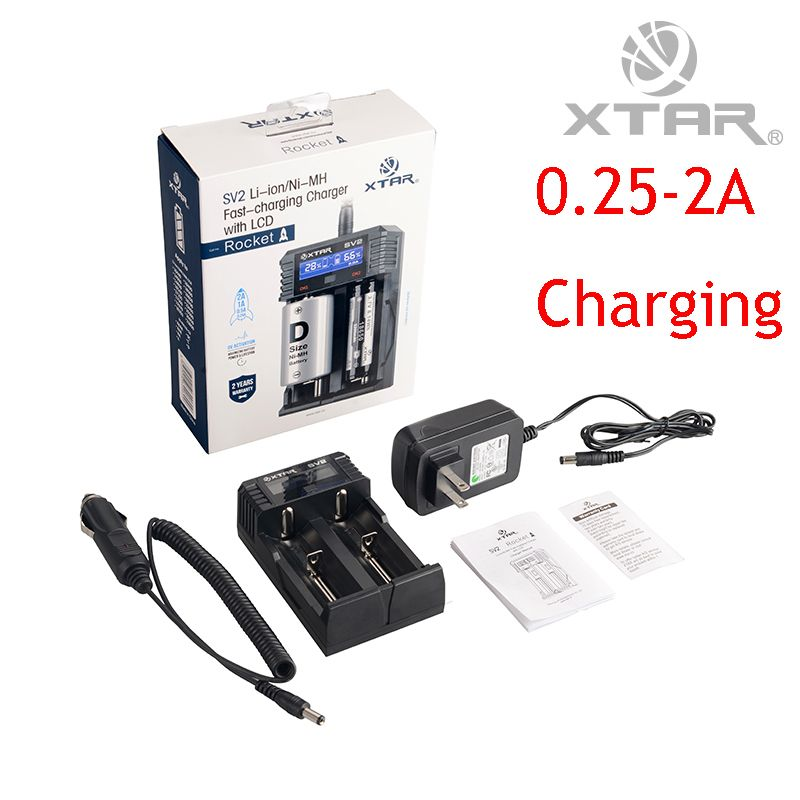 3 in 1 Original XTAR SV2 Battery Charger With LCD Display Car Charger Fast Charger For Ni-MH Li-ion16340 18650 22650 26650 32650