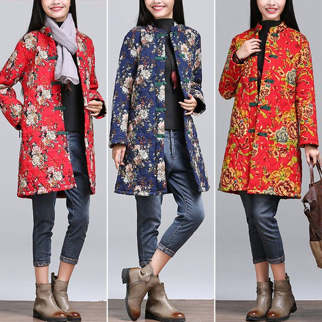 Chinese Style 2016 New Women Long Sleeved Thickening Winter Coats Female Floral Print Cotton Padded Coats & Jackets Plus Size