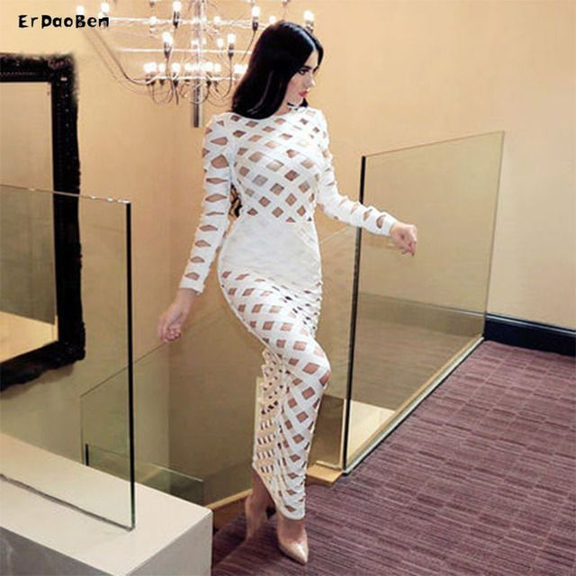 Top quality New arrival white Longe sleeve long maxi rayon Bandage Dress kim kardashian dresses DR514