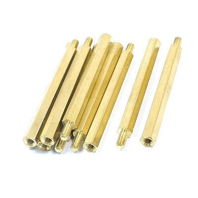 10Pcs Gold Tone Male Female Hexagon PCB Standoff Spacers M3 x 45mm x 51mm