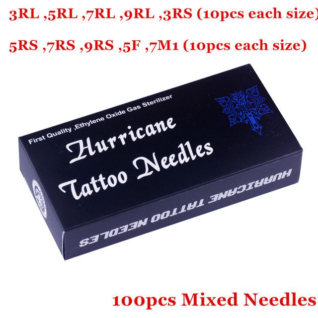 Mix Tattoo Needles 100PCS  Disposable Sterile Tattoo Needles Mix Size 3 5 7 9 RL RS 5F 7M1