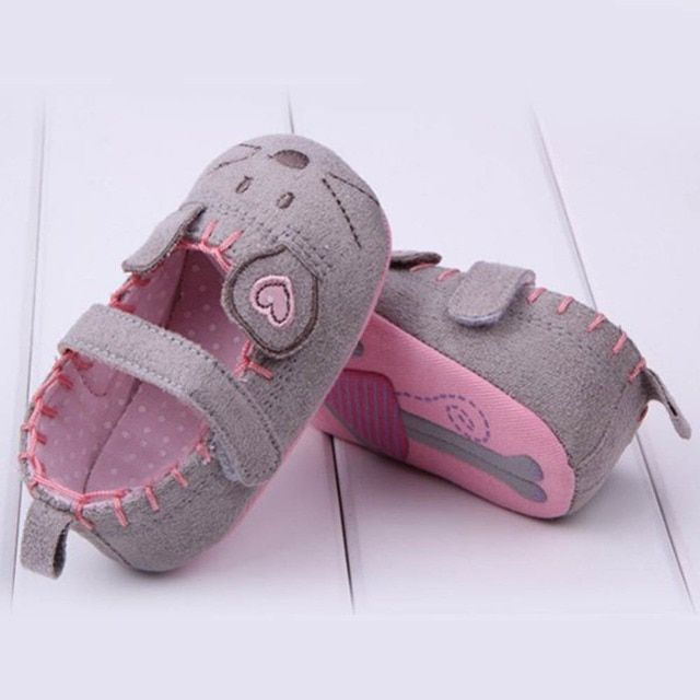 Baby Infant Toddler  Cute Baby Girls First Walkers Cotton Gray Cartoon Mouse Soft Sole Crib Shoes