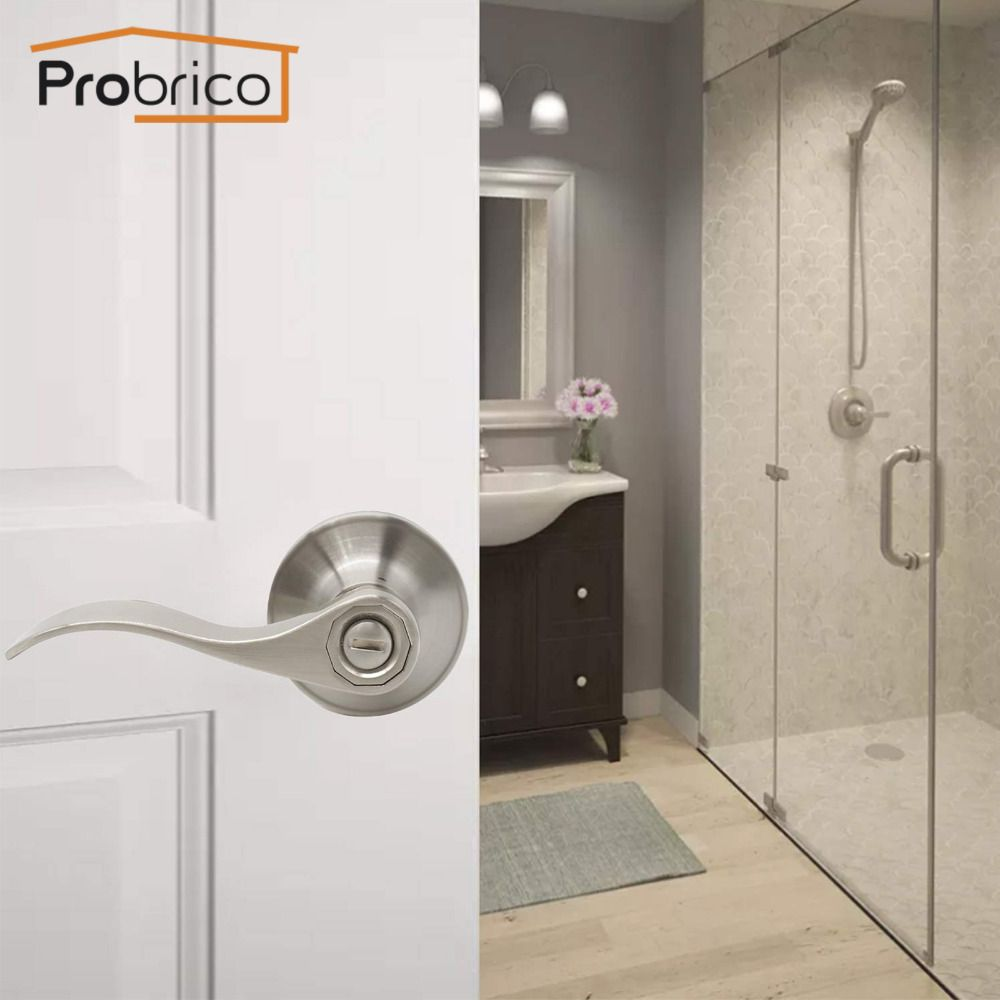 Probrico Interior Door Handle front back door lever Keyless Privacy Lock Stainless Steel Door handles Locks for Bathroom