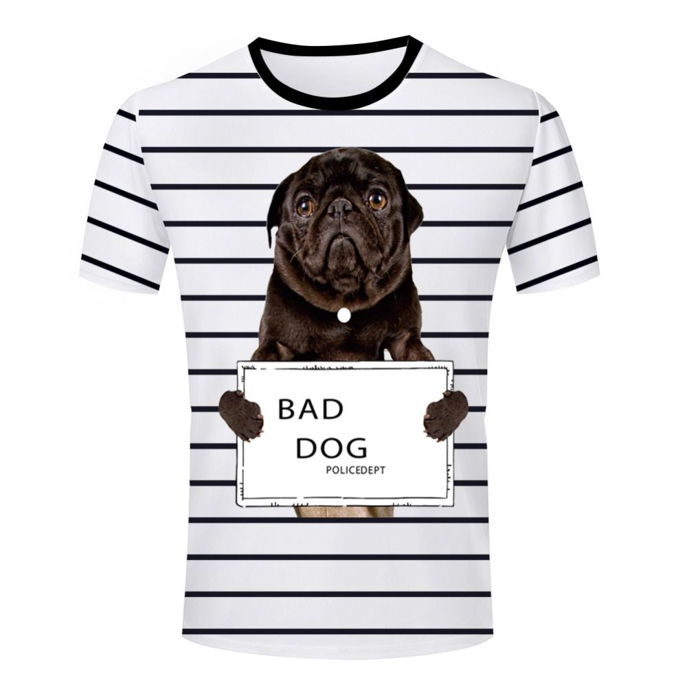 Fashion men Casual Bad Dog t shirt funny round neck Short Sleeve Summer t-shirt Young Male Tee Shirt Striped Leisure Clothes