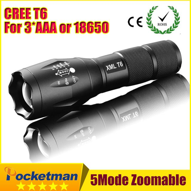 E17 CREE XM-L T6 3800Lumens cree led Torch Zoomable cree LED Flashlight Torch light For 3xAAA or 1x18650 Free shipping ZK94