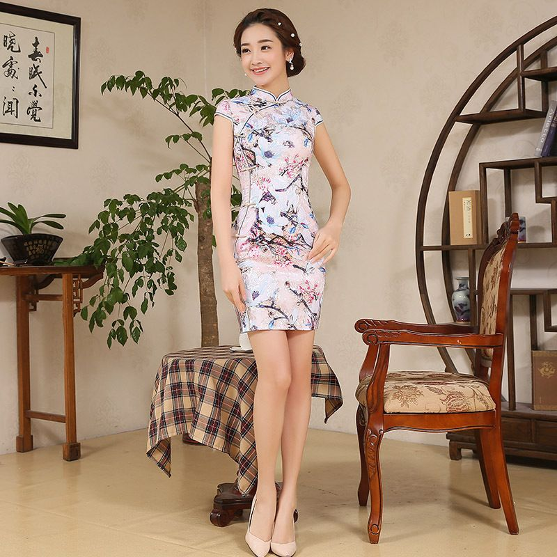 Elegance Short Summer Women Cotton Cheongsam Silk Female Evening Party Chinese Traditional Dress Sleeveless Mini Dress Qipao 18