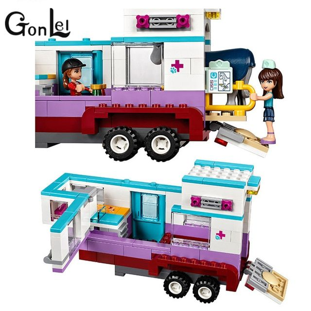 GonLeI 10561 Girl Friends Animal ambulance Building Blocks Bricks Toys Compatible Lepin  Educational Assembled Bricks Kids