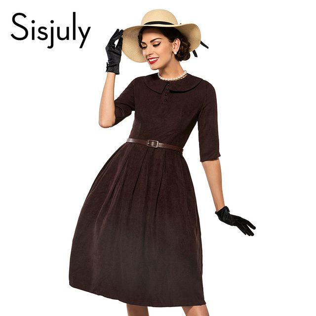 Sisjuly Day Dress Vintage Women Lapel Half Sleeve Autumn Dress Pleated A-line Slim Women Party Dresses Vintage 1950s Style Retro