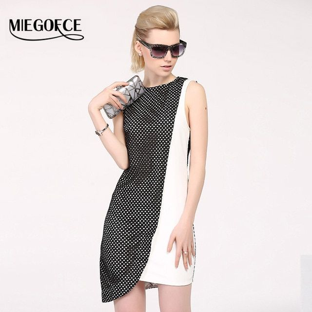 MIEGOFCE Summer Women's Office Elegant Dresses Sleeveless Asymmetric European style Work Casual Dress High Quality Slim Workwear