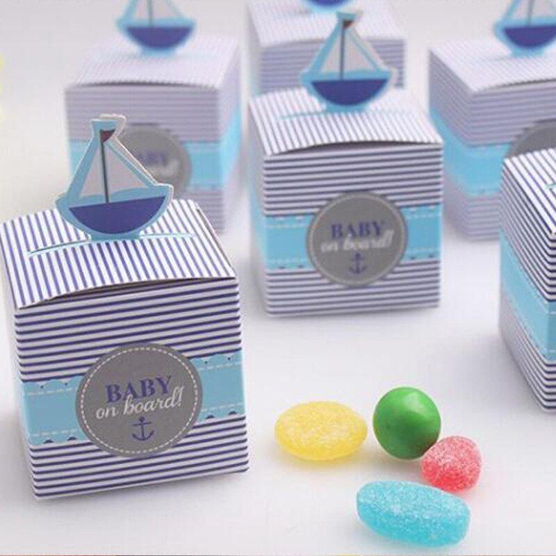 50pcs/lot Wedding Favors Candy Boxes Sailing Boat Gifts Marriage Baby Birth Candy Boxes DIY
