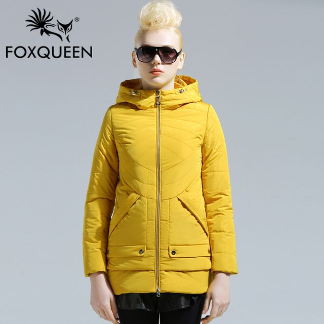 Foxqueen 2016 New Arrival Spring Women Warm Outwear Thin Slim Cotton Padded Jacket High Quality Design Womens Outwear Clothing