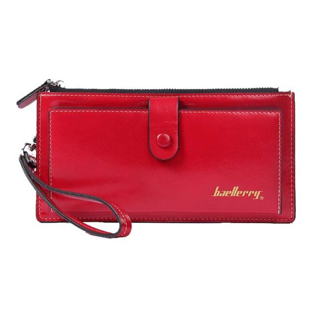 FGGS-Baellerry Female Leather Hand Bag Fashion Wallets Women Coin Purses Wristlet Bags With Strap, Red