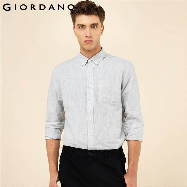 Giordano Men Shirt Casual Brand Clothing Oxford Shirt Solid Color Blouse For Men Long Sleeves Shirt 2017 Camisa Masculina