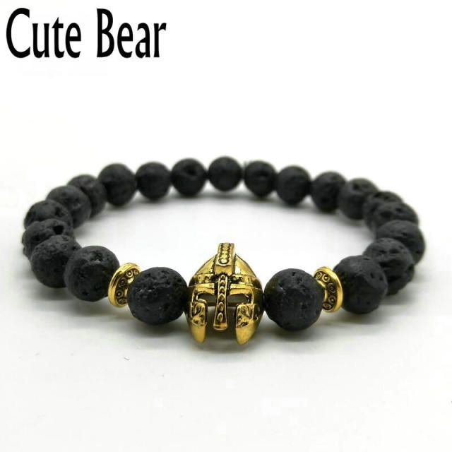 Cute Bear Brand Roman Knight Spartan Warrior Gladiator Helmet Bracelet Men Black Matte Lava Stone Bead Bracelets For Men Jewelry