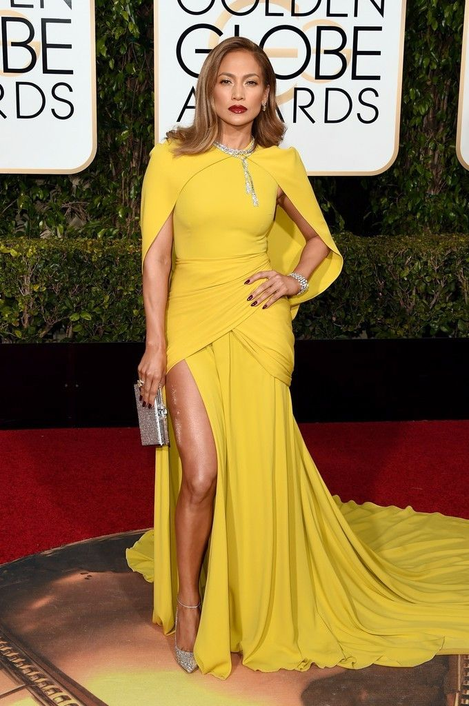 2016 Latest 73rd Golden Globe Awards Red Carpet Celebrity Jennifer Lopez Dress Sexy High Slit Chiffon Evening Gowns prom dresses