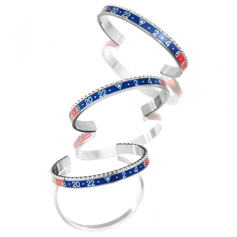 1pcs steel-red-blue open bracelet initial cuff bangle speedometer bracelet women men B0088