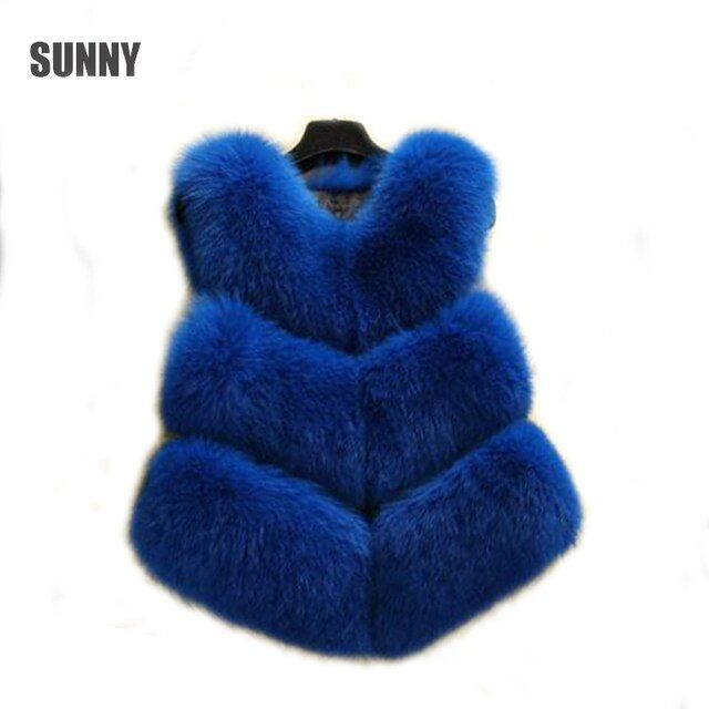 2017 Winter Plus Size Faux Fur Vest Women  Blue  Warm Femal Short  Fox Fur  Gilet Colete Feminino Waistcoat  Red&White