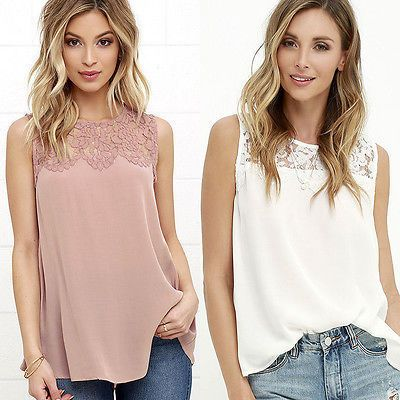 Fashion Women  Girls Summer Lace Top Sleeveless Blouse Casual Tops Shirts