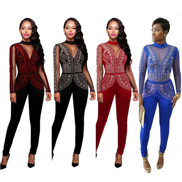 baggy jumpsuit 2016 Plus size S-3XL Couture Rhinestones tight Jumpsuit Bandage Club women Jumpsuit tight bandage bodysuit