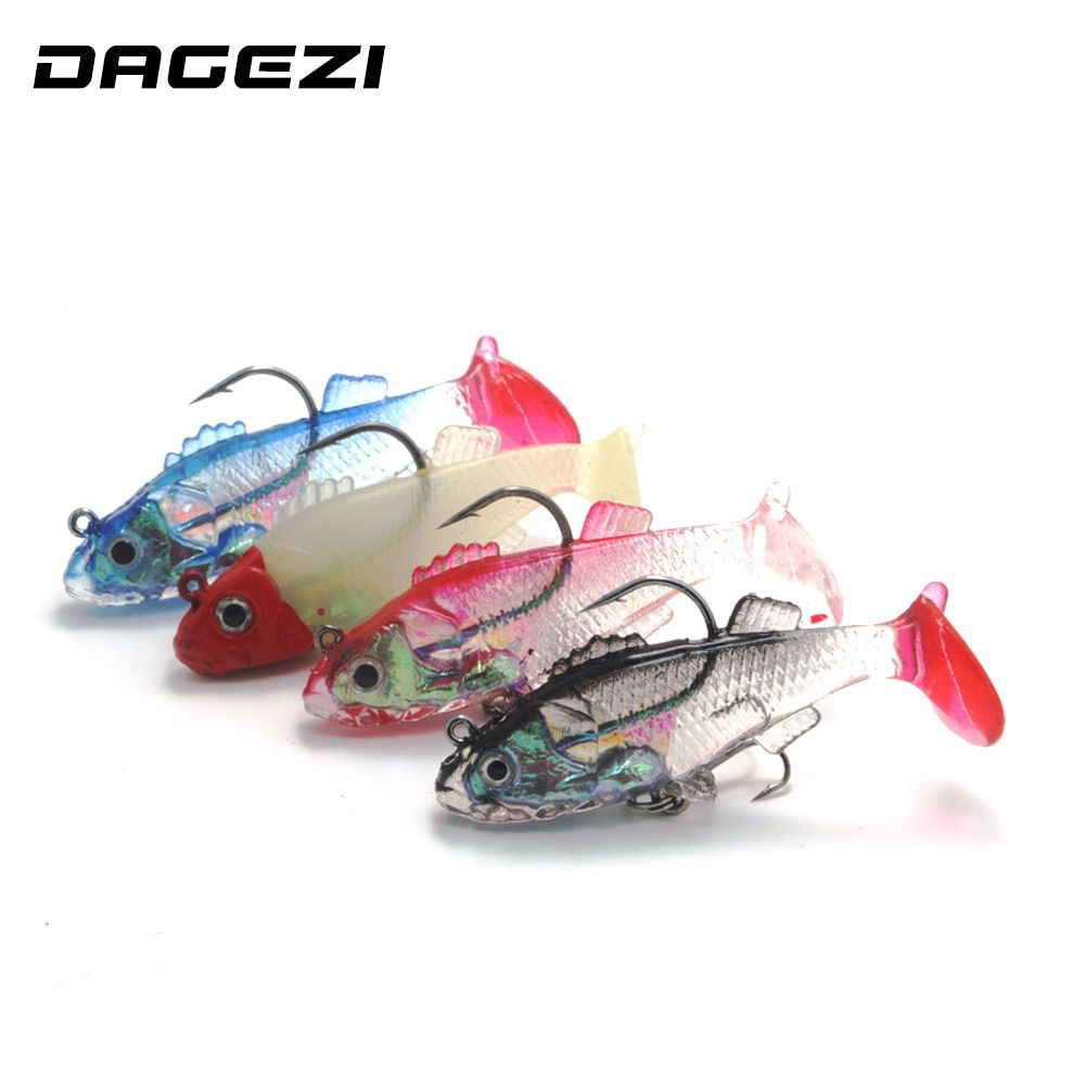 DAGEZI 4pcs/lot Luminous Fishing Lure 6cm/8g Artificial Soft bait Carp Crankbait with Treble Tackle Hooks lifilike Fishing lures