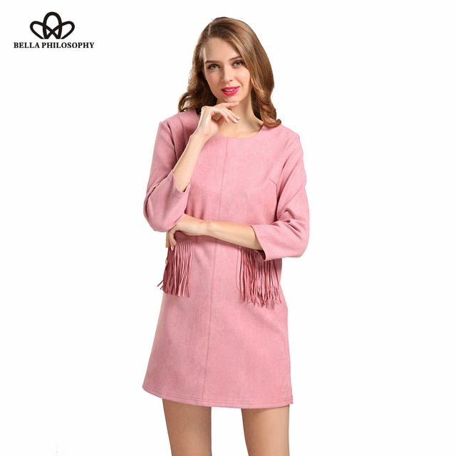 2017 spring autumn new women's pocket tassels fringed pink black khaki blue faux suede dress long sleeve real photo