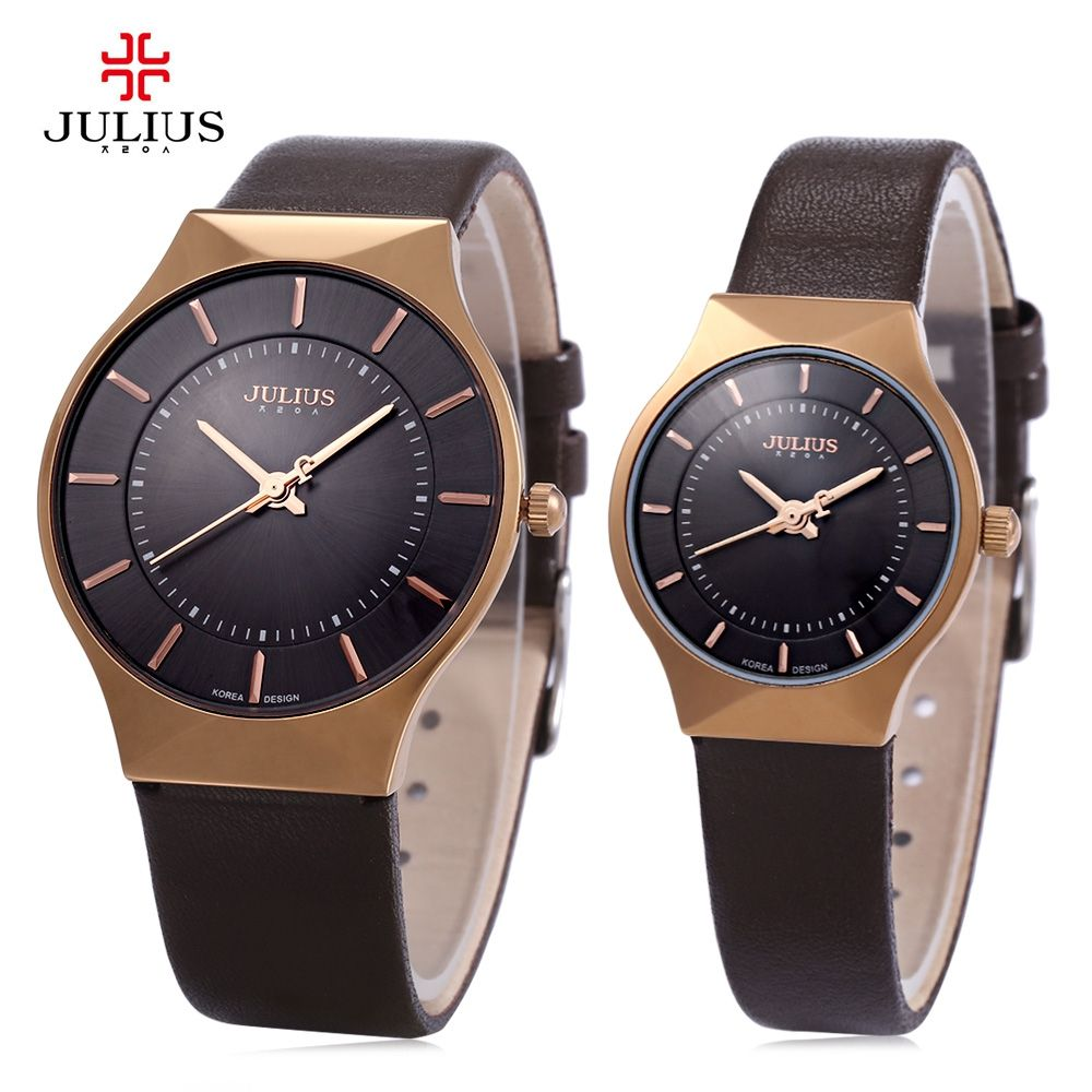 Julius Men Women Ultrathin Quartz Watch Round Dial Leather Strap for Couple