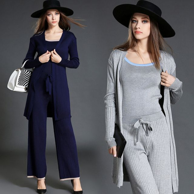 3 Piece Top and Pants Set Winter 2017 Autumn Fashion Long Sleeve Knitwear Sweatsuit Women Knitted Suits with Trousers Suit