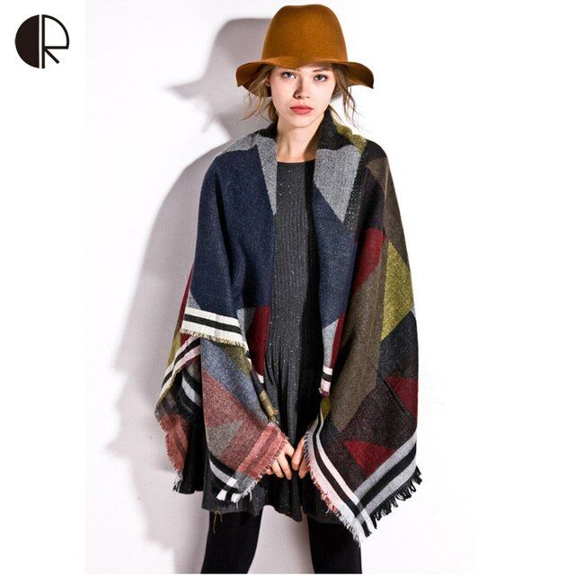 Women Winter Pashmina Oversized Brand Plaid Desigual Cashmere Shawl Bohemia Scarf Poncho Scarves AM195
