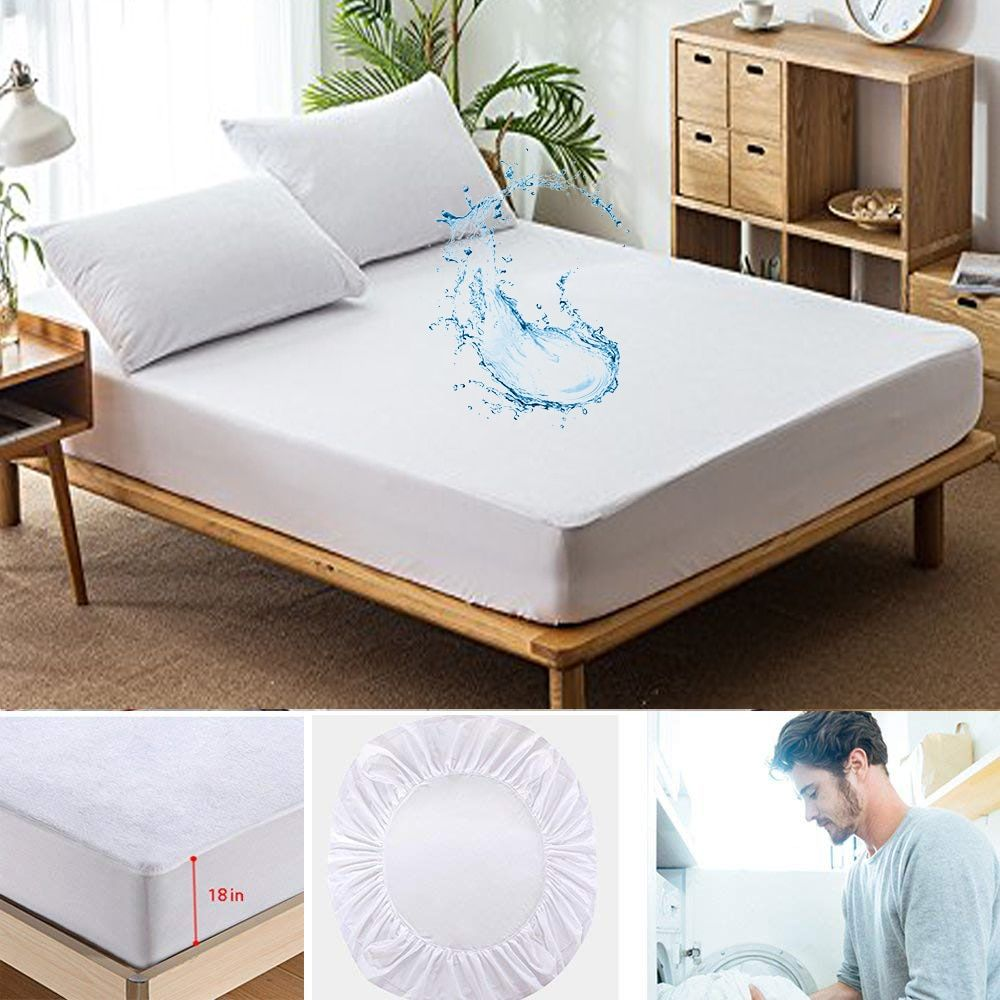 All Size Polyester Terry Waterproof Mattress Cover Elastic Waterproof Bed Sheet Anti Mites Bed Bug Proof Cover For Mattress Pad