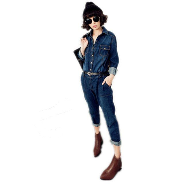 Free Shipping 2017 New Arrival Women Fashion Long-sleeve Denim Jumpsuit Spring And Autumn Ladies Plus Size Ladies Casual Rompers