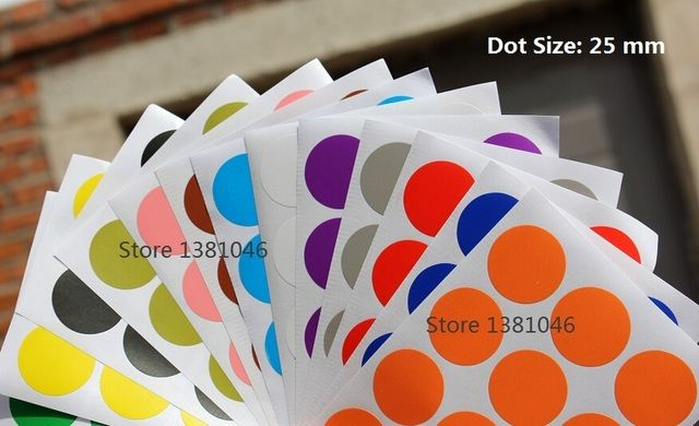 25mm Color Coding Tag Self Adhesive Label Dot Round Sticker 13 Sheets/Pack