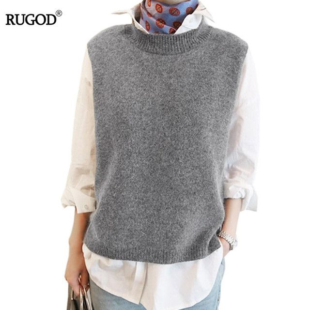 2017 Spring Autumn Wool Sweater Vest Women Sleeveless O-Neck Knitted Vests Long Sections Poullover Vest Female Jumper pull femme