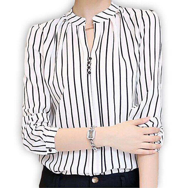 2017 Large Size Shirts Women Top White Office Chiffon Blouses Vintage VerticalStriped Shirt Pinstripe Blusas Cheap Clothes China