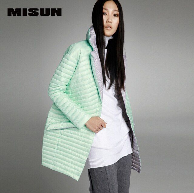 MISUN 2017 womens winter jacketsasymmetric length mantle type cocoon single breasted suit collar light thin down coat MIDQ-V381