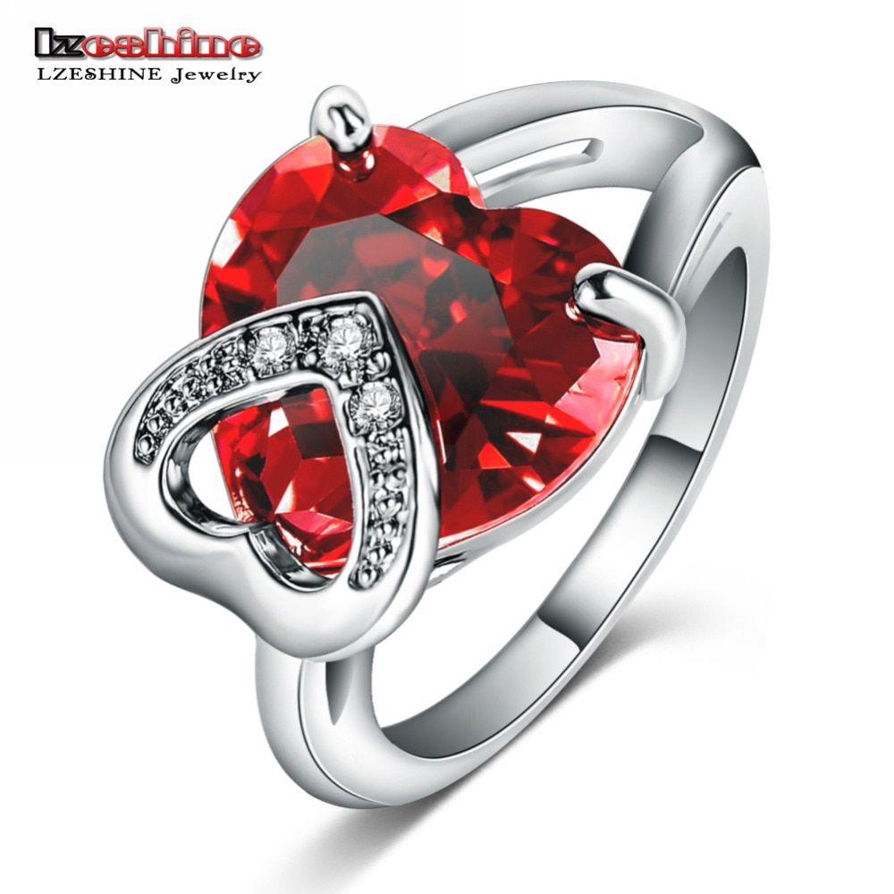 LZESHINE Romantic Christmas Love Gift Female Ring Fashion Accessories Heart Shaped CZ Stone Cocktail Rings/ Anillos CRI0046-B