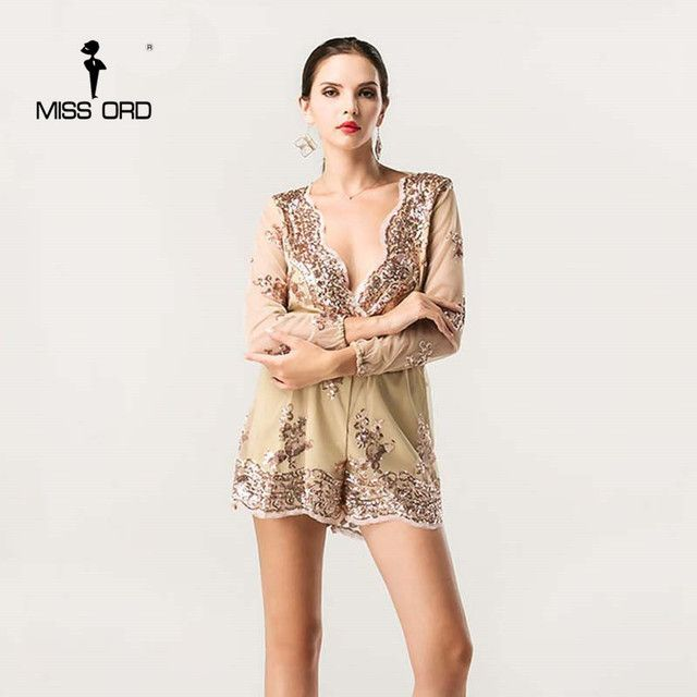 Missord 2018 Sexy V-neck  long sleeve sequin playsuit  FT4340