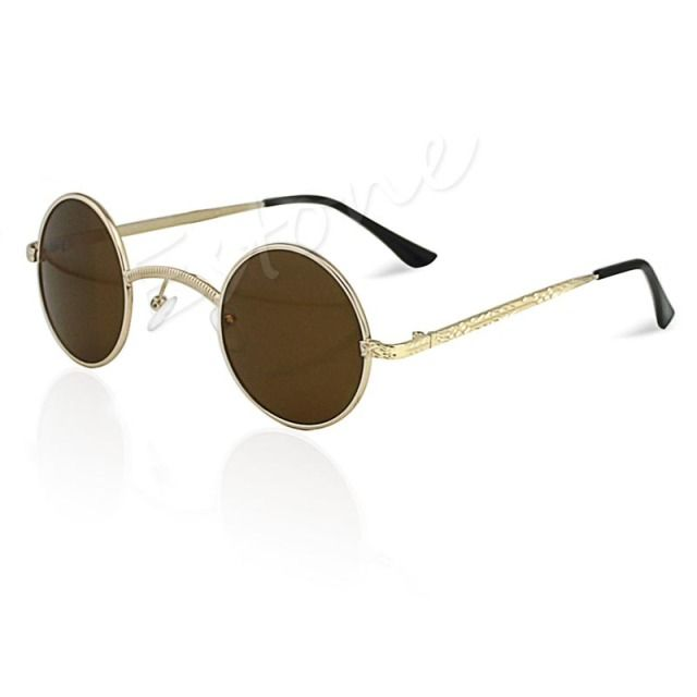 Fashion Mens Womens Retro Style Round Glasses Cyber Goggles Steampunk Sunglasses     free  shipping