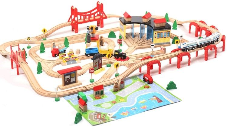 EDWONE Electric Train Track Set Wooden Railway Track EDWONE fit Thomas and Brio Trains Gifts For Kids