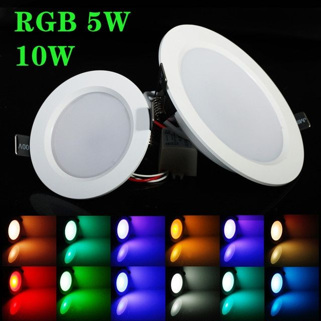 Best RGB 5W/10W LED Ceiling Panel Light AC85-265V 24Color Downlight Bulb Lamp with Remote Control Free shipping