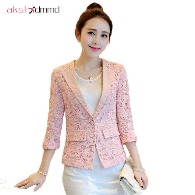 AKSLXDMMD Lace 3/4 Sleeve Women Blazer Spring Casaco Feminino 2017 New Slim Female Casual Single Button Suit Jackets ZL3394