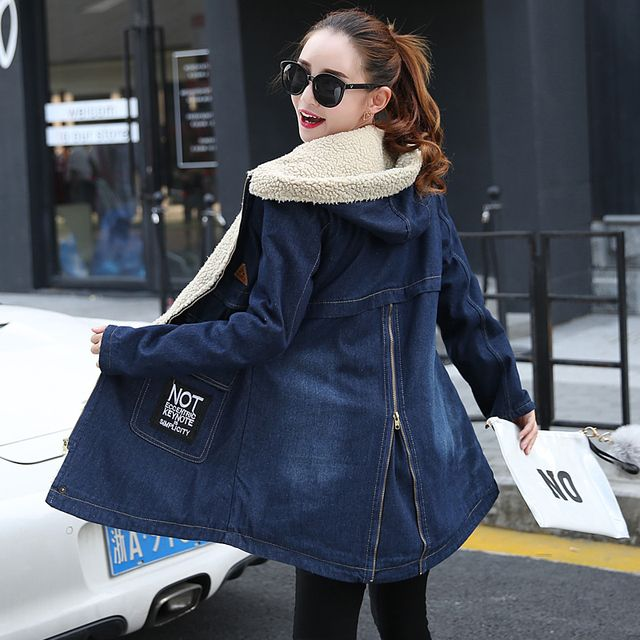 New Winter Parkas Women 2016 Fashion Hooded Denim Outerwear Warm Velvet Thicken Coat High Quality Winter Coat CT196