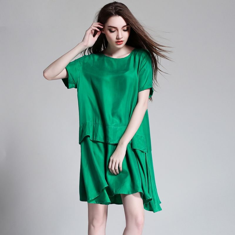 2018 European design Elegant women loose summer dress plus size women casual dresses green hot pink color